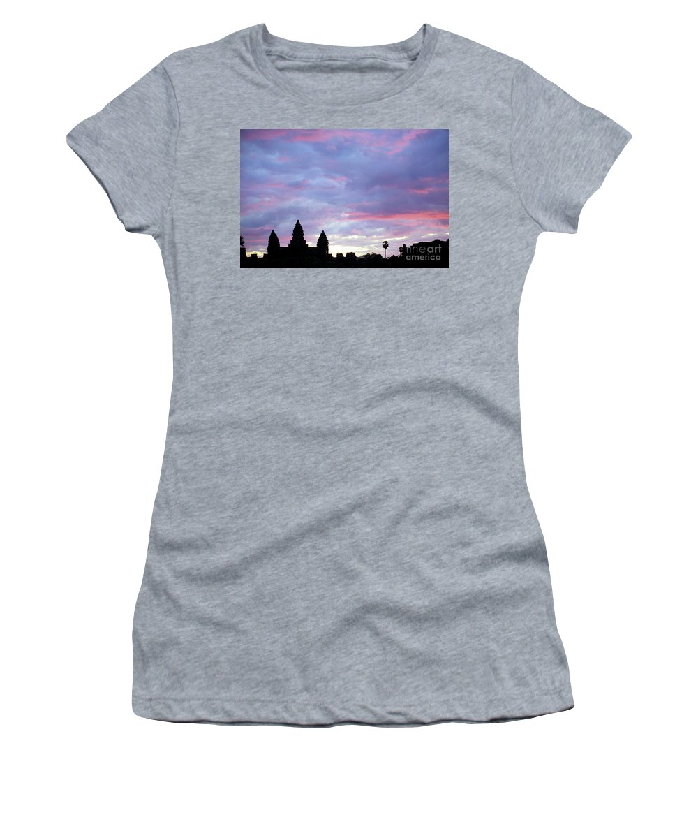 Angkor Wat Women's T-Shirt (Athletic Fit) featuring the photograph Angkor Wat Sunrise 02 by Rick Piper Photography