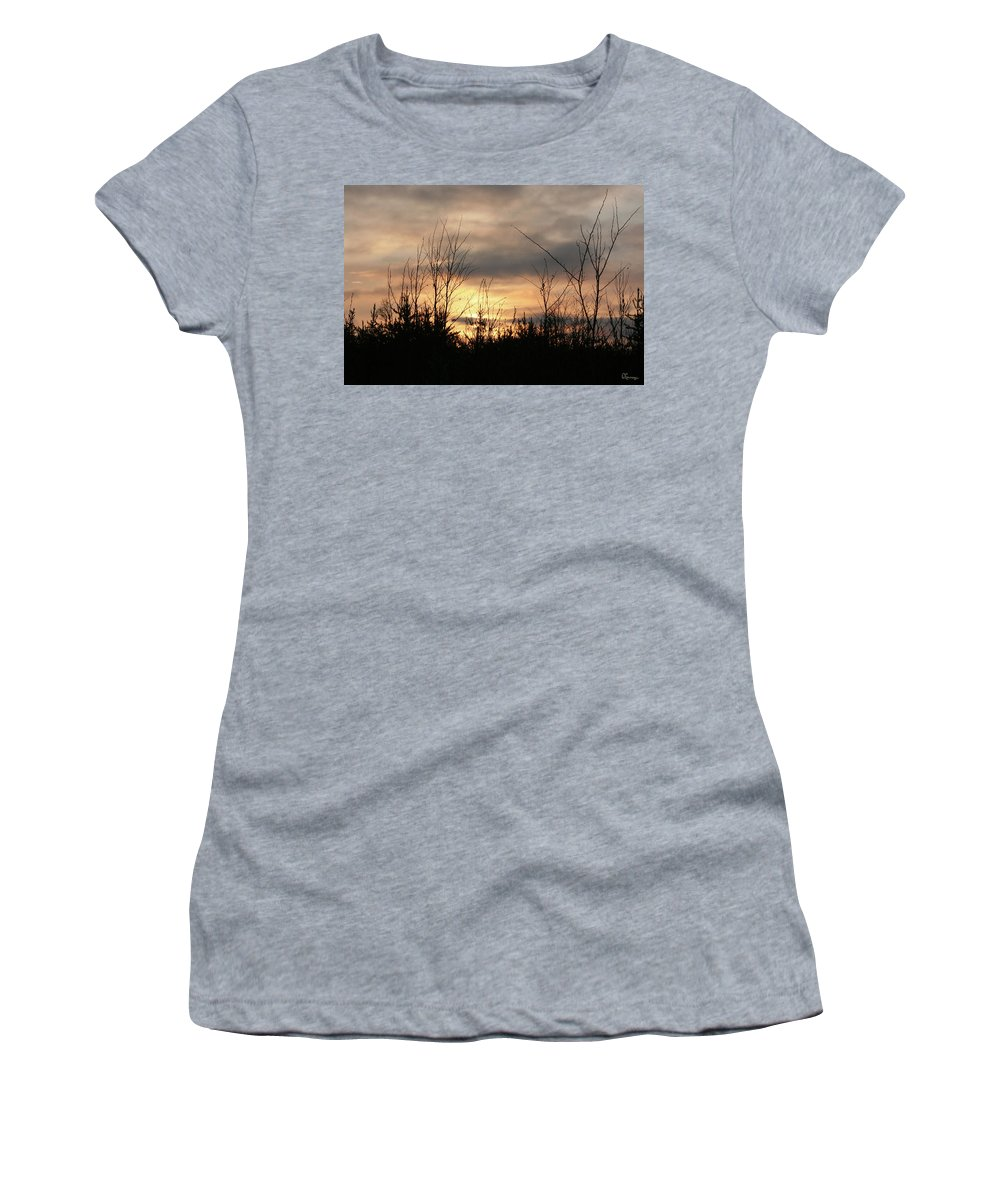 Sunset Dusk Trees Forest Sky Clouds Nature Wild Area Women's T-Shirt featuring the photograph Another Dusk by Andrea Lawrence