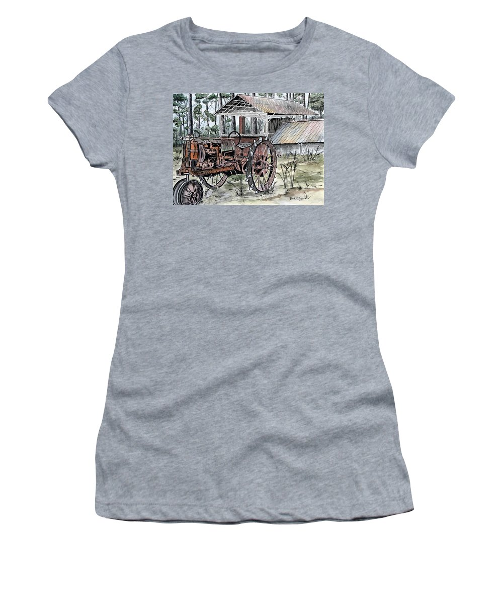 Tractor Women's T-Shirt featuring the painting Antique Farm Tractor  by Derek Mccrea