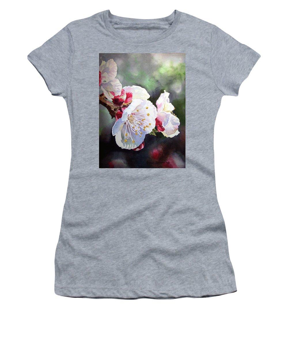 Apricot Women's T-Shirt featuring the painting Apricot Flowers by Irina Sztukowski