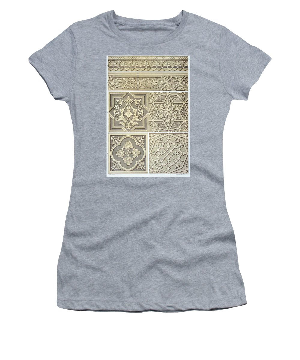 Decoration; Design; Foliate; Geometric; Border; Muslim; Moslem; Arabesque; Islamic Women's T-Shirt (Athletic Fit) featuring the drawing Arabic Tile Designs by Anonymous