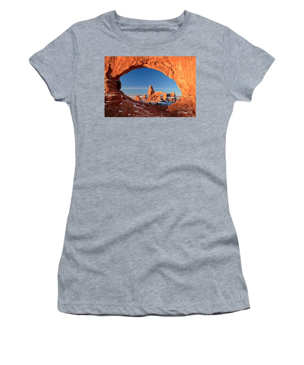 North Window Arch Women's T-Shirt featuring the photograph Arches Window Frame by Adam Jewell