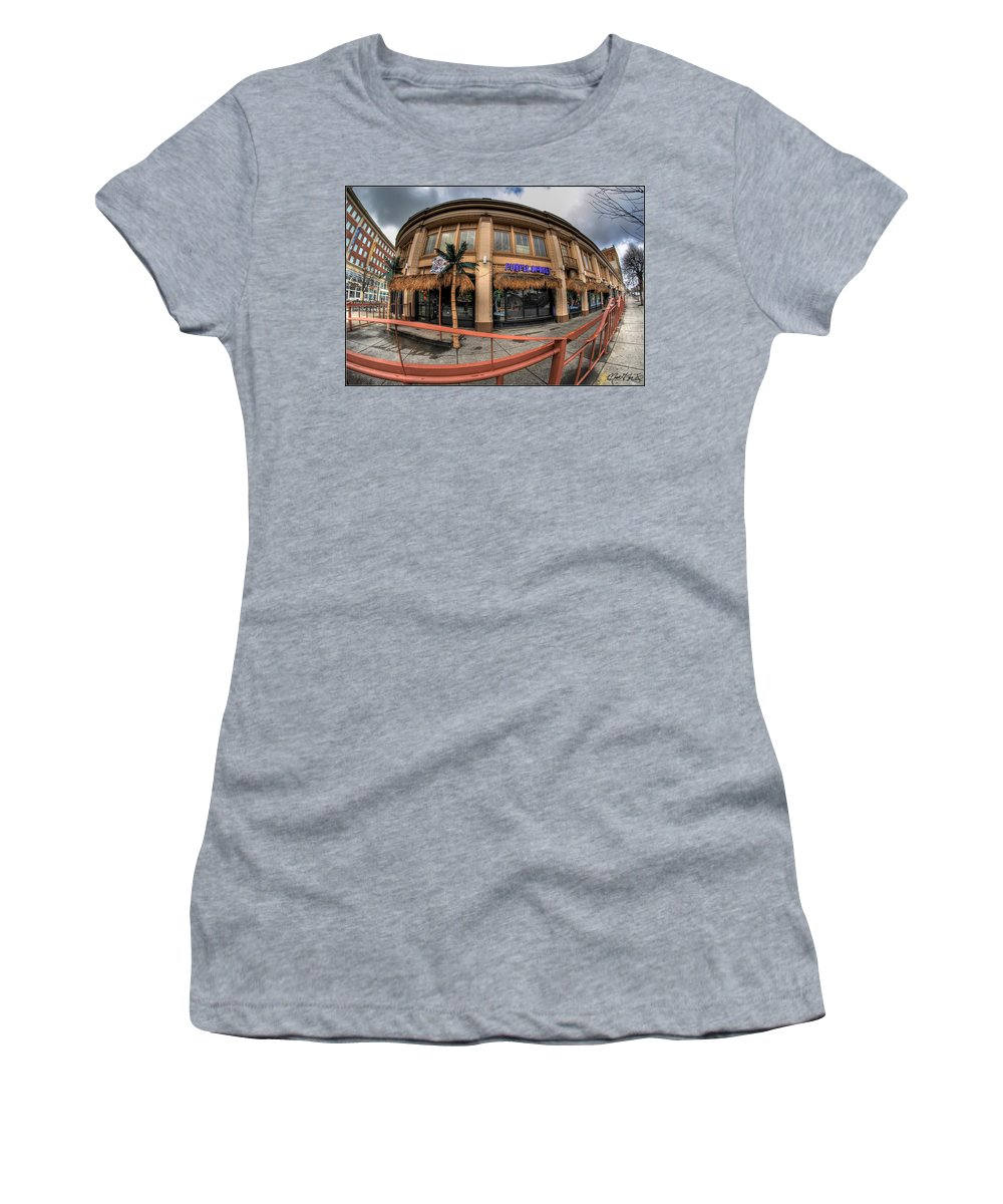 Architecture Women's T-Shirt featuring the photograph Architecture And Places In The Q.c. Series Purple Monkey by Michael Frank Jr