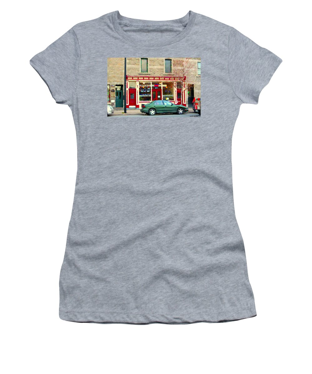 St.henri Women's T-Shirt (Athletic Fit) featuring the painting Aromate Resto Cafe Rue St Jacques St Henri Montreal Urban Food City Scenes Carole Spandau by Carole Spandau