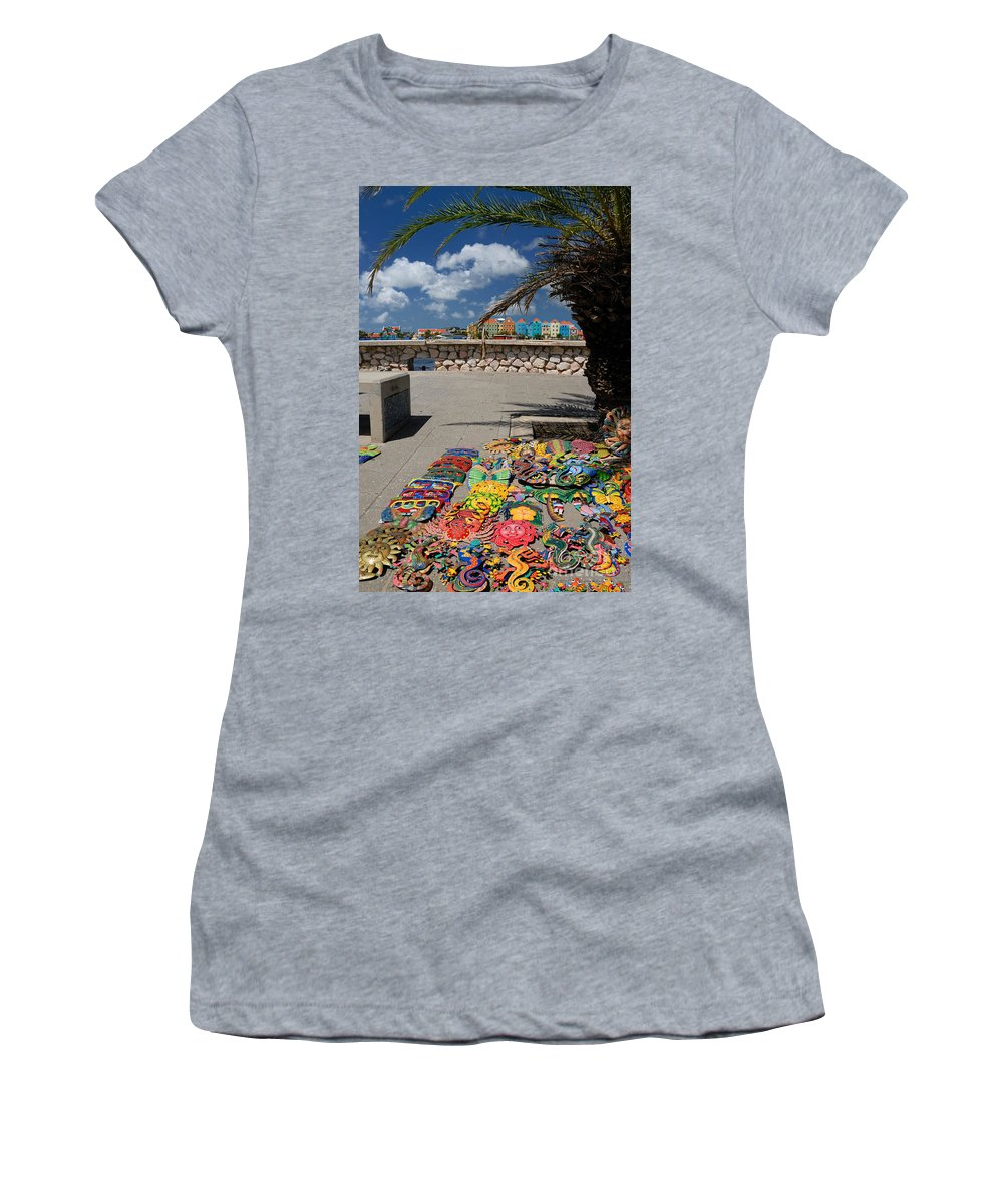 Willemstad Women's T-Shirt featuring the photograph Artwork At Street Market In Curacao by Amy Cicconi