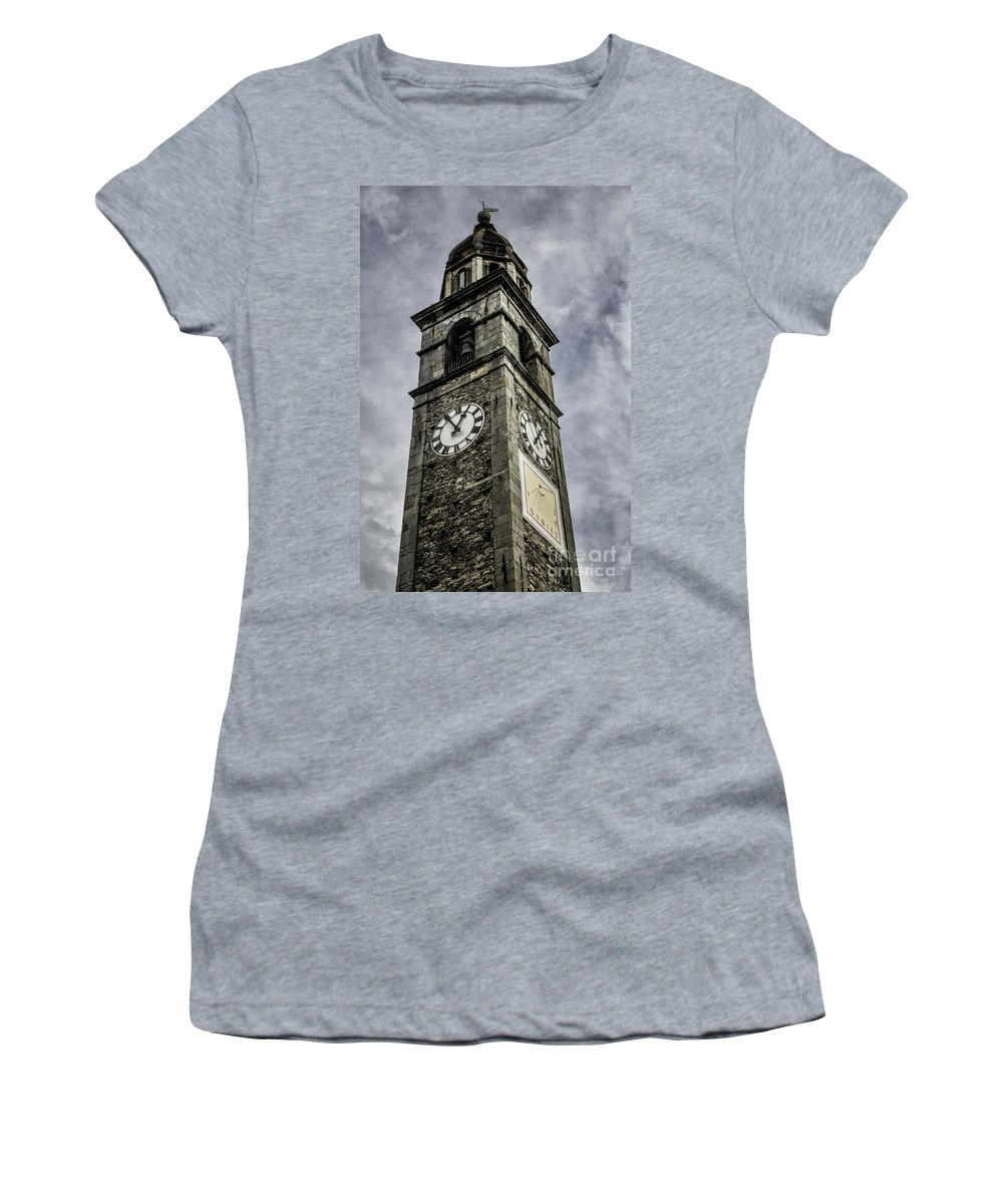 Switzerland Women's T-Shirt featuring the photograph Ascona Clock Tower by Timothy Hacker