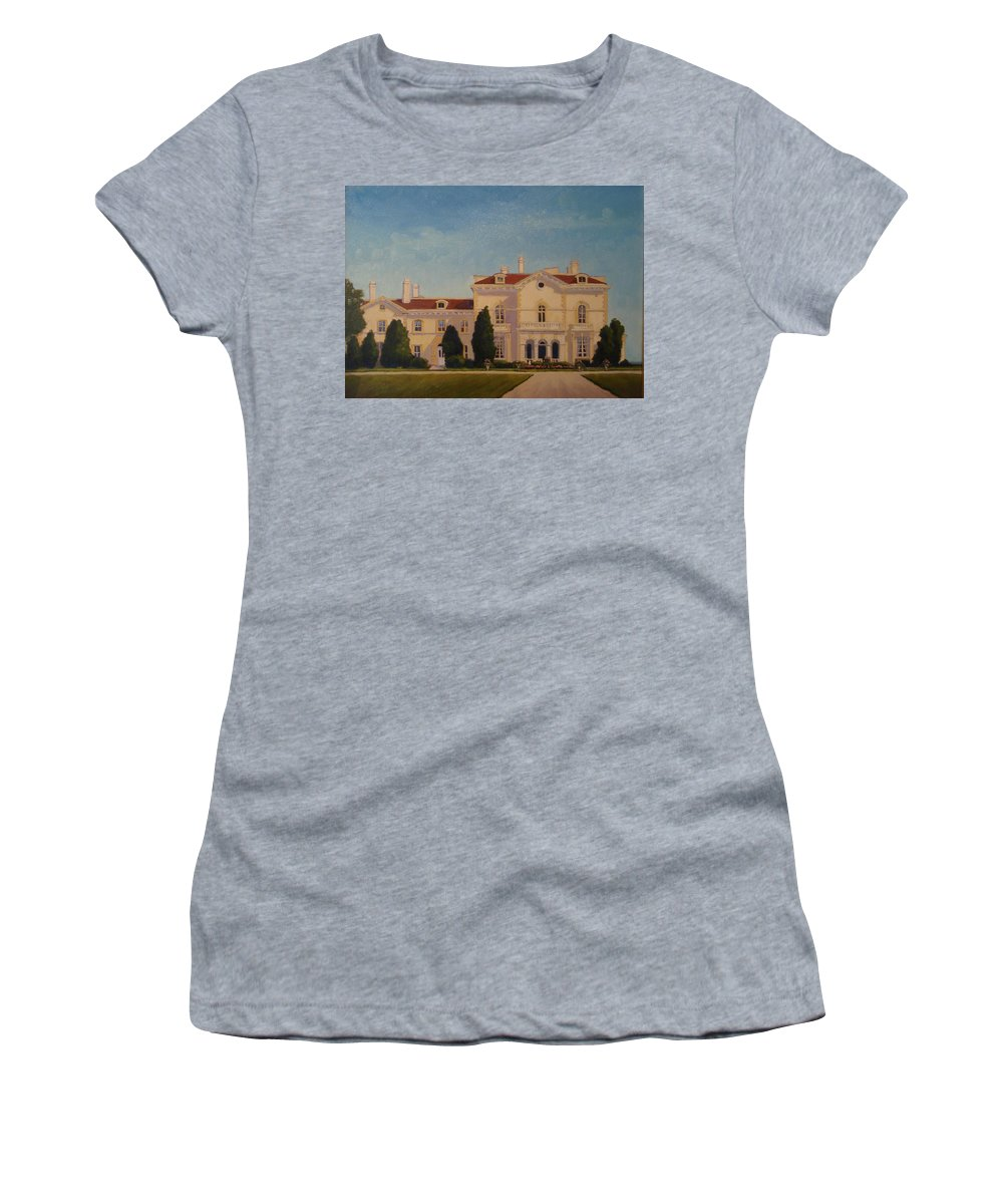 Newport Mansions. Newport Women's T-Shirt (Athletic Fit) featuring the painting Astors Beechwood Mansion by Betty Ann Morris