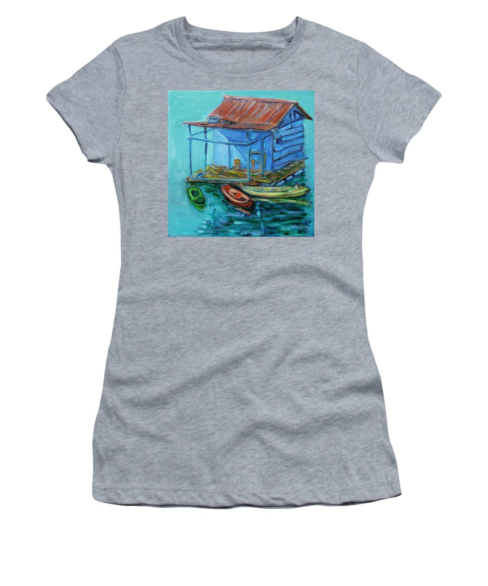 Landscape Women's T-Shirt (Athletic Fit) featuring the painting At Boat House by Xueling Zou