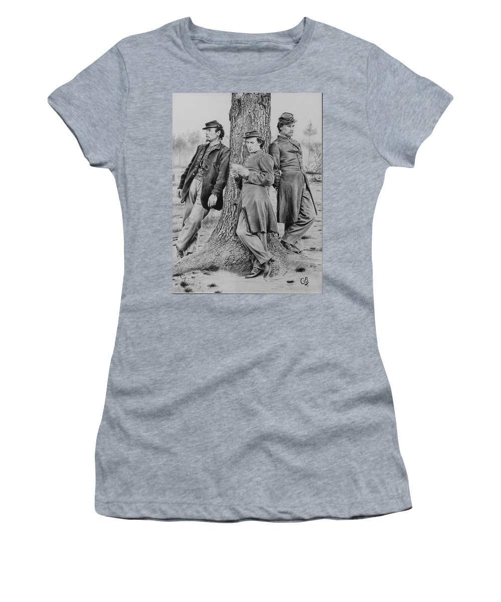 Civil War Drawings Women's T-Shirt featuring the drawing At Ease by Glenn Beasley