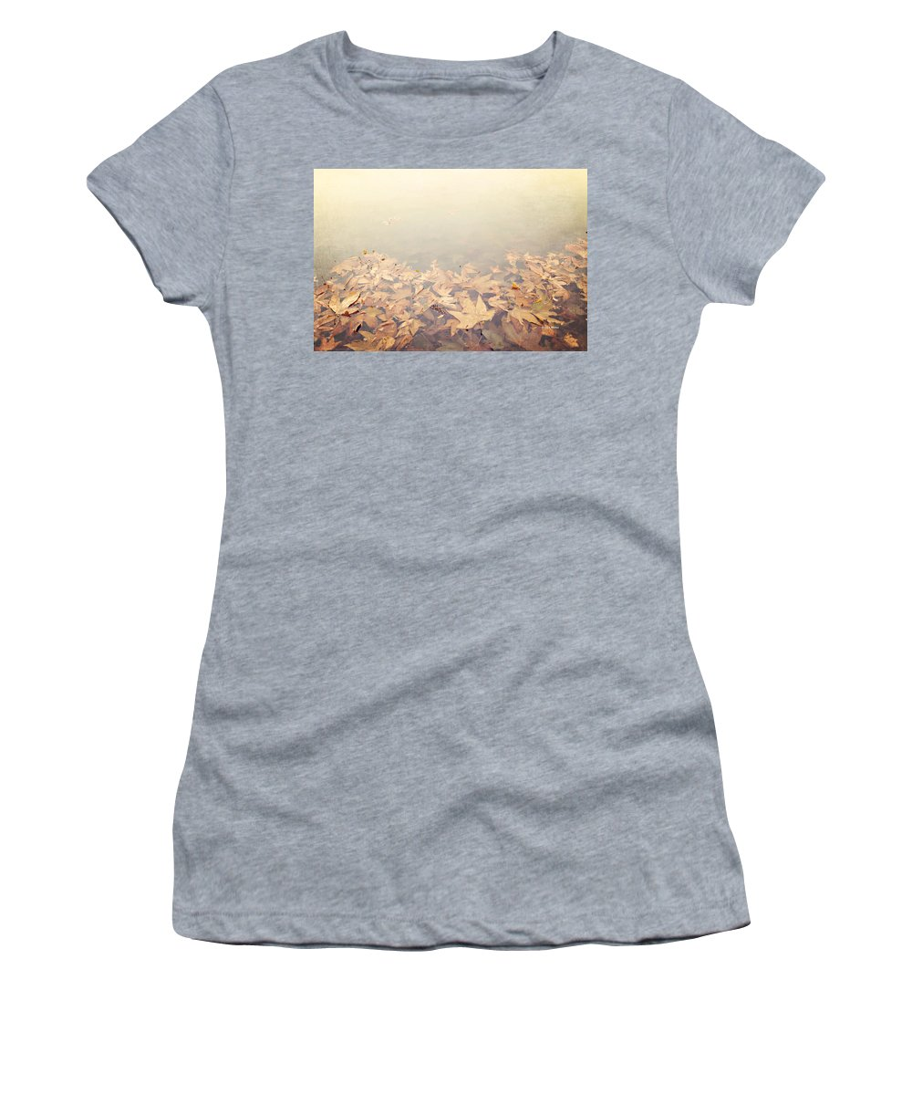 Autumn Women's T-Shirt (Athletic Fit) featuring the photograph Autumn Leaves Floating In The Fog by Angela Stanton