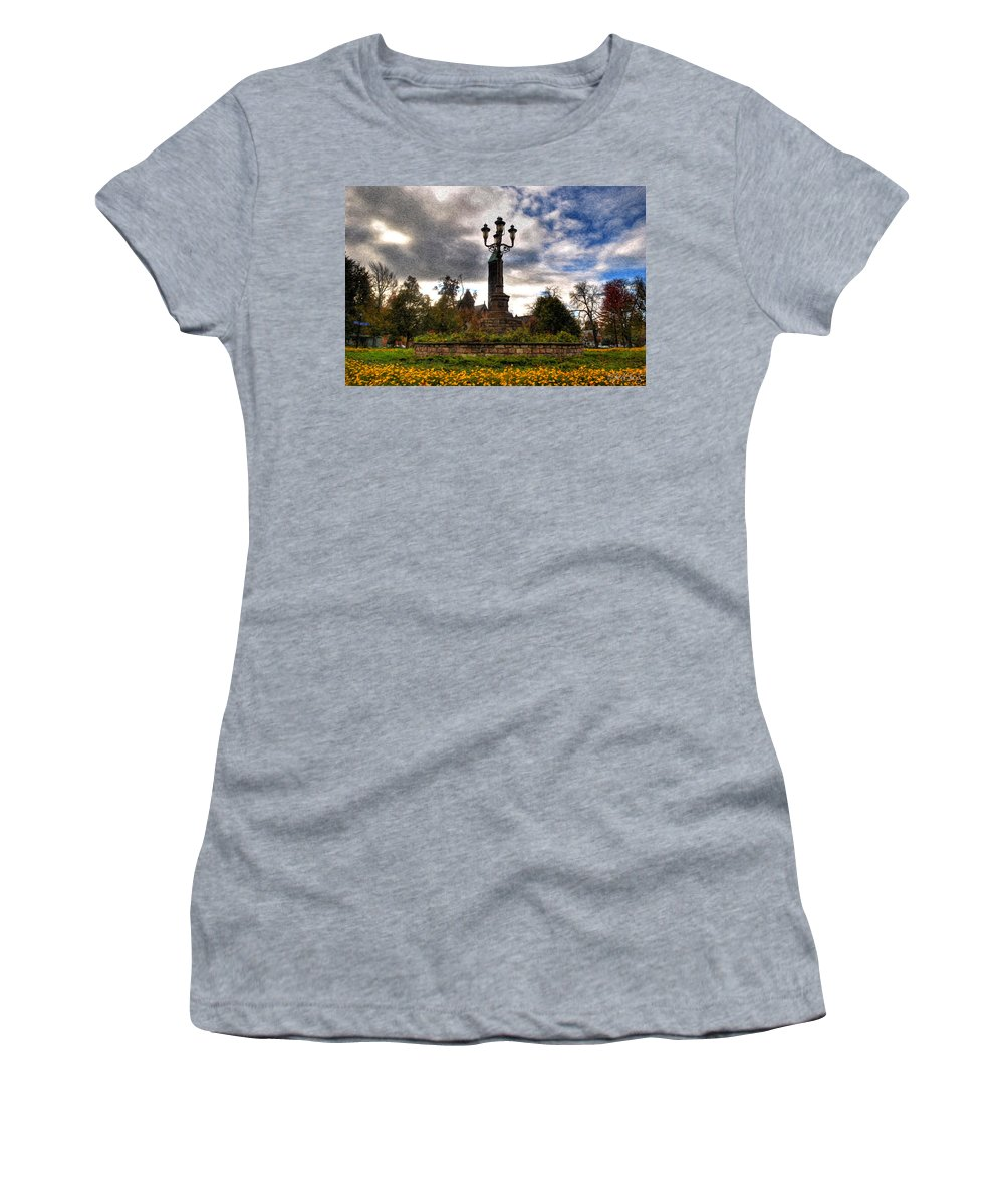 Symphony Circle Women's T-Shirt featuring the photograph Autumn Morning At Symphony Circle V2 by Michael Frank Jr