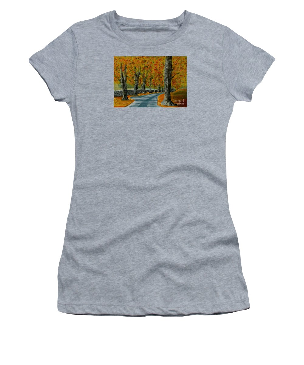 Autumn Women's T-Shirt featuring the painting Autumn pathway by Anthony Dunphy