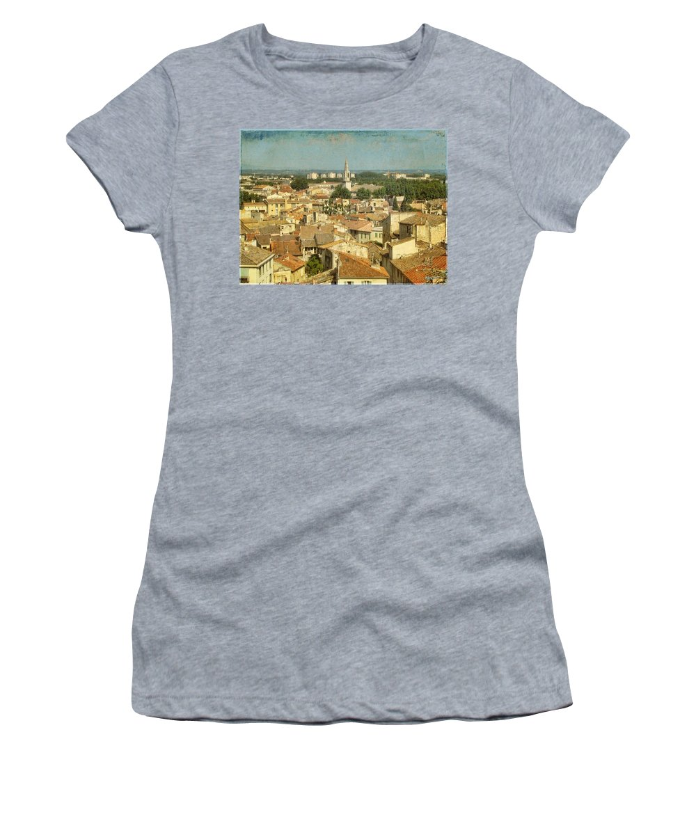 Wright Women's T-Shirt (Athletic Fit) featuring the photograph Avignon From Les Roches by Paulette B Wright