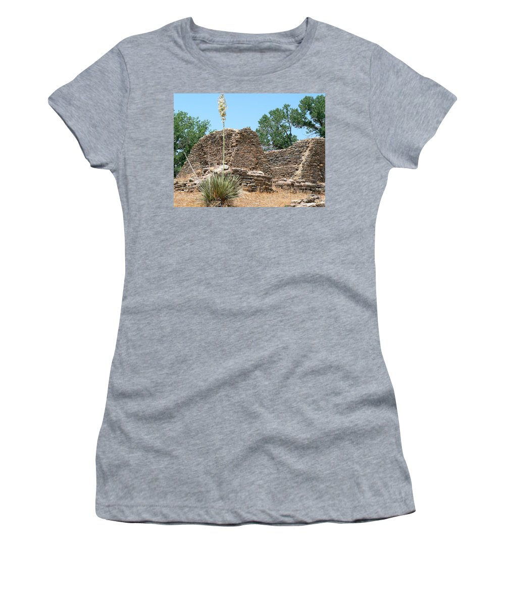 Aztec Ruins National Monument Women's T-Shirt featuring the photograph Aztec Ruins National Monument by Laurel Powell