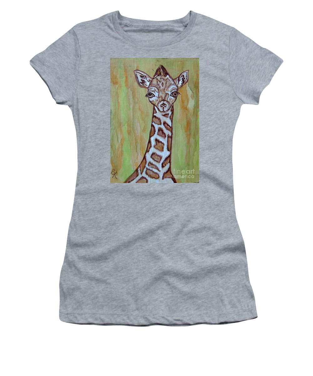 Baby Women's T-Shirt (Athletic Fit) featuring the painting Baby Longneck Giraffe by Ella Kaye Dickey