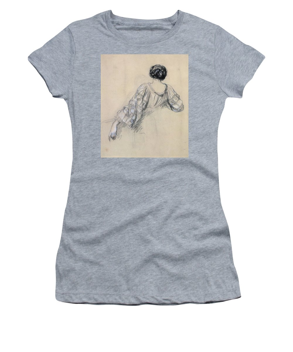 Rear View Women's T-Shirt featuring the drawing Back Of A Young Woman by Antoine Auguste Ernest Herbert