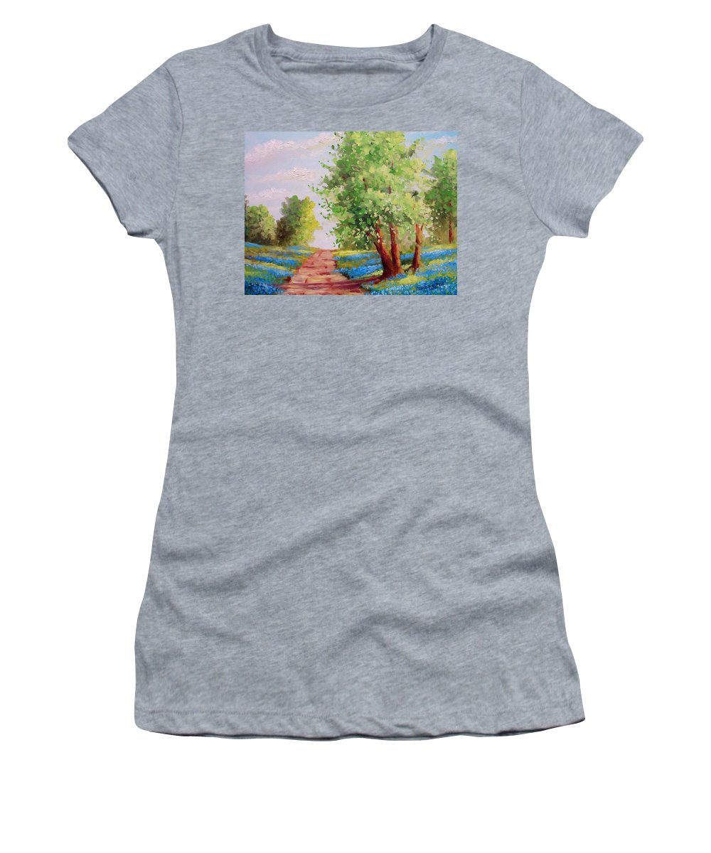Bluebonnets Women's T-Shirt (Athletic Fit) featuring the painting Backroad Bluebonnets by David G Paul