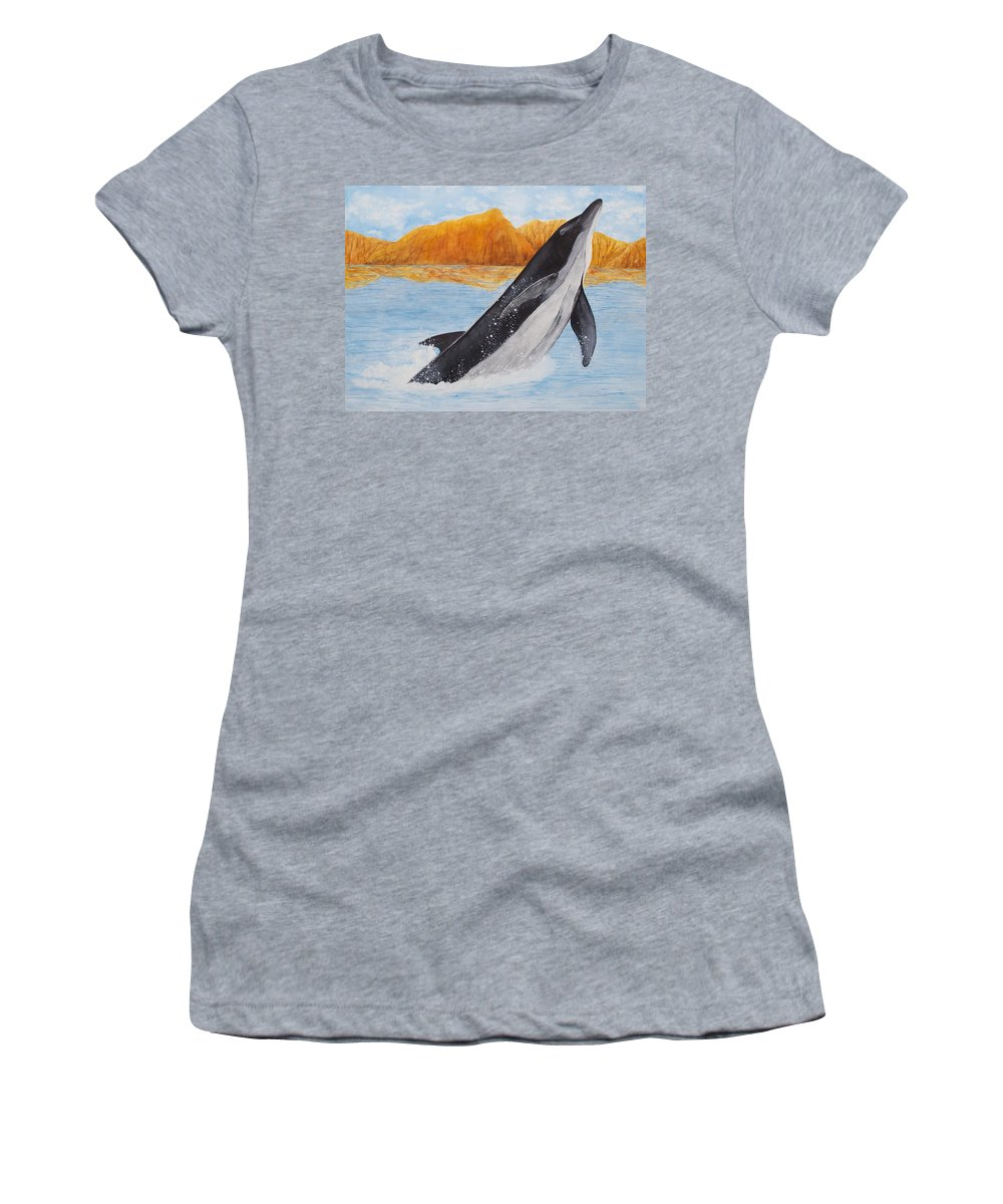 Bottlenose Dolphin Women's T-Shirt featuring the painting Baja Splash by Patricia Beebe
