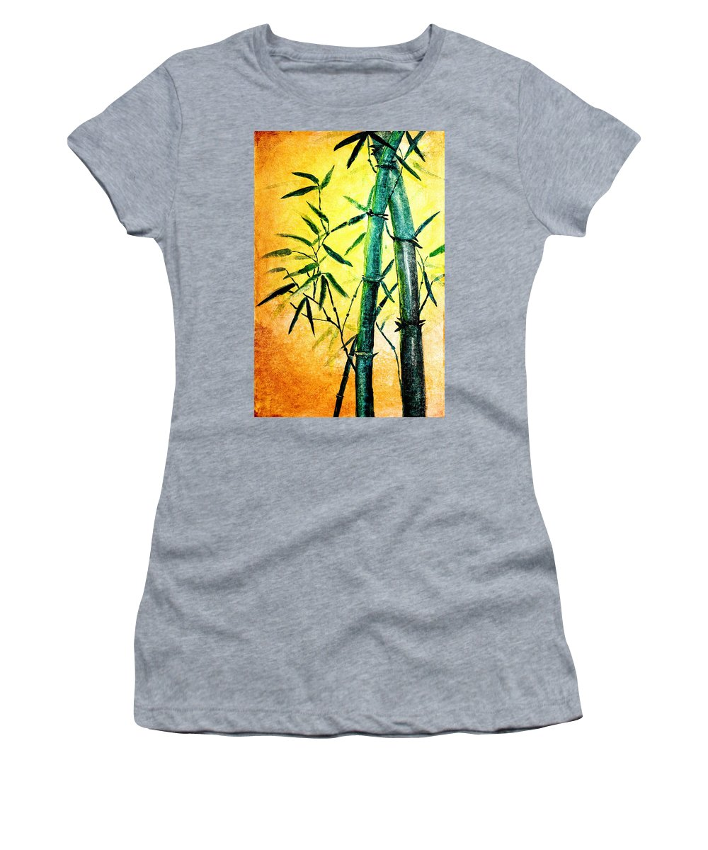 Art Women's T-Shirt featuring the painting Bamboo Magic by Nirdesha Munasinghe