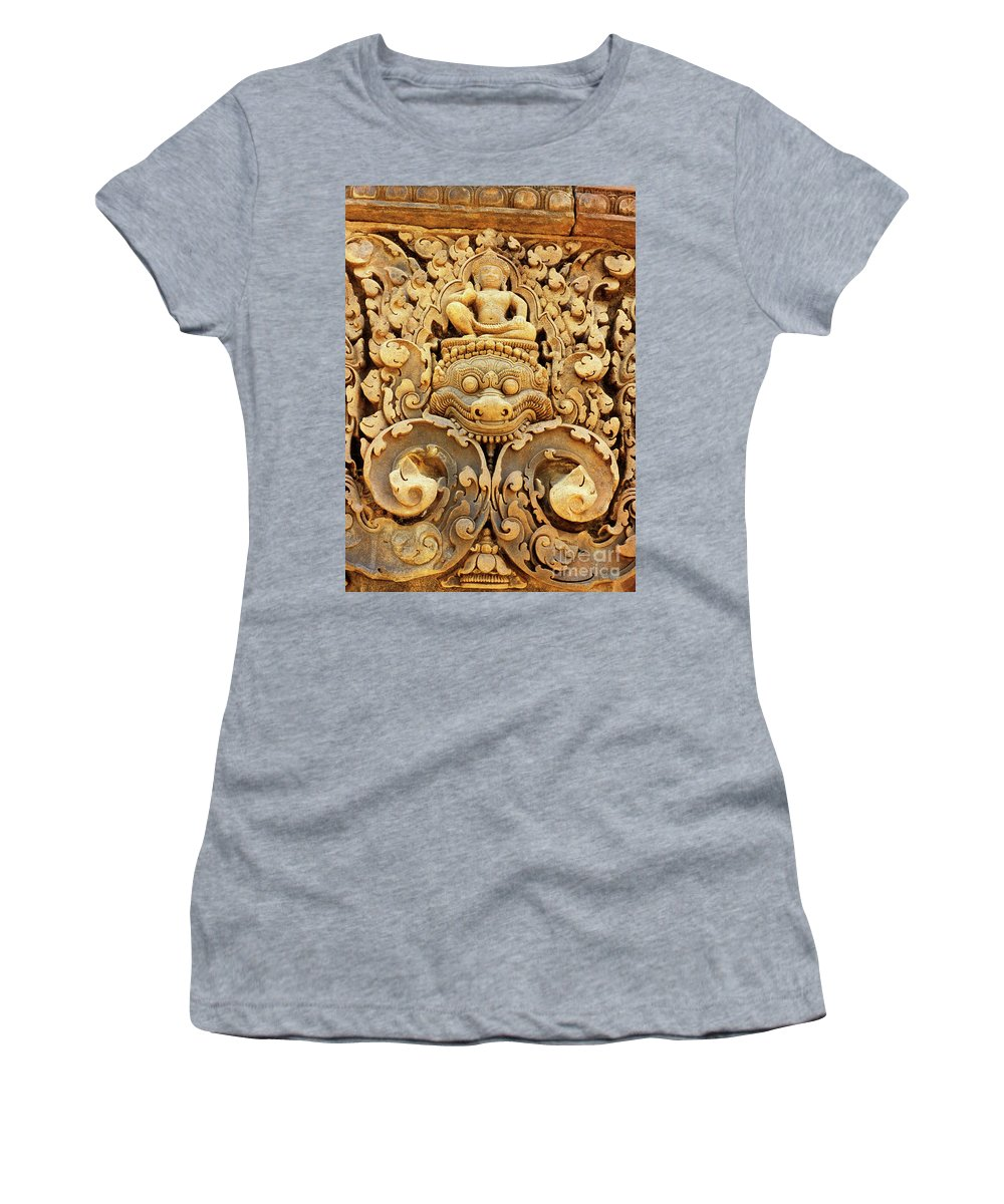 Banteay Women's T-Shirt (Athletic Fit) featuring the photograph Banteay Srei Carving 01 by Rick Piper Photography
