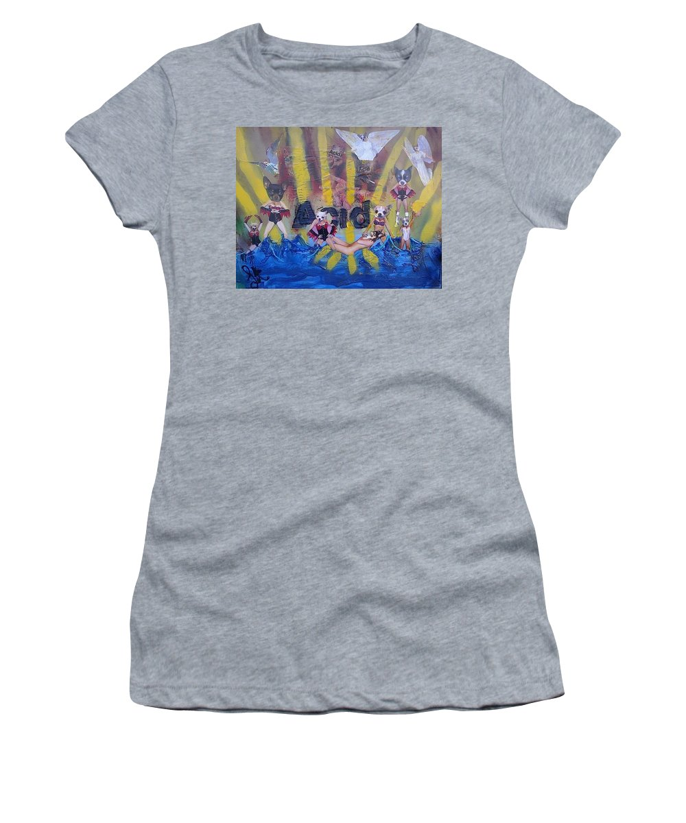 Professional Women's T-Shirt (Athletic Fit) featuring the painting Baptism In Acid by Lisa Piper