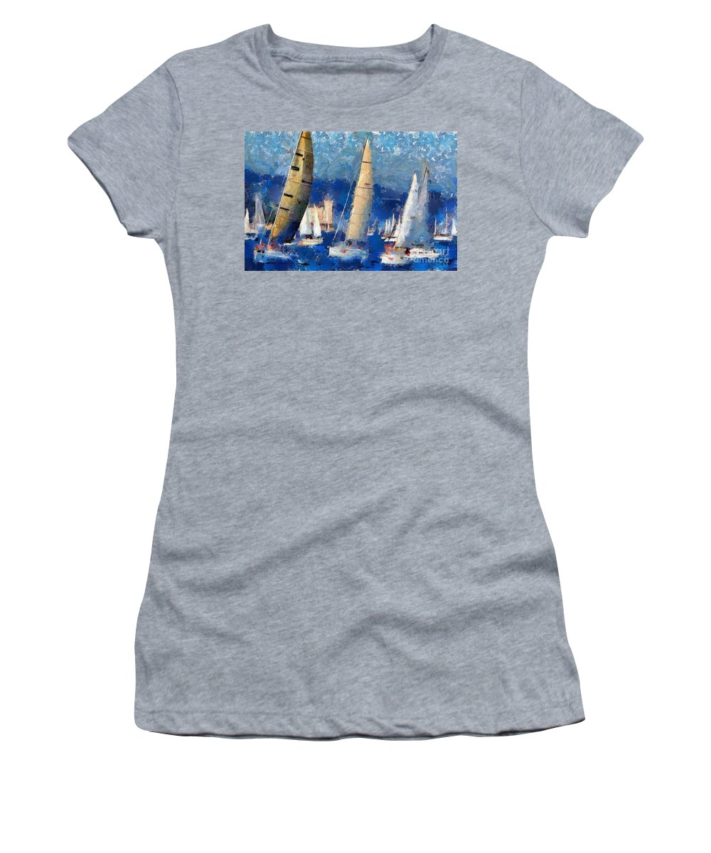 Seascape Women's T-Shirt (Athletic Fit) featuring the painting Barcolana 2013 by Dragica Micki Fortuna