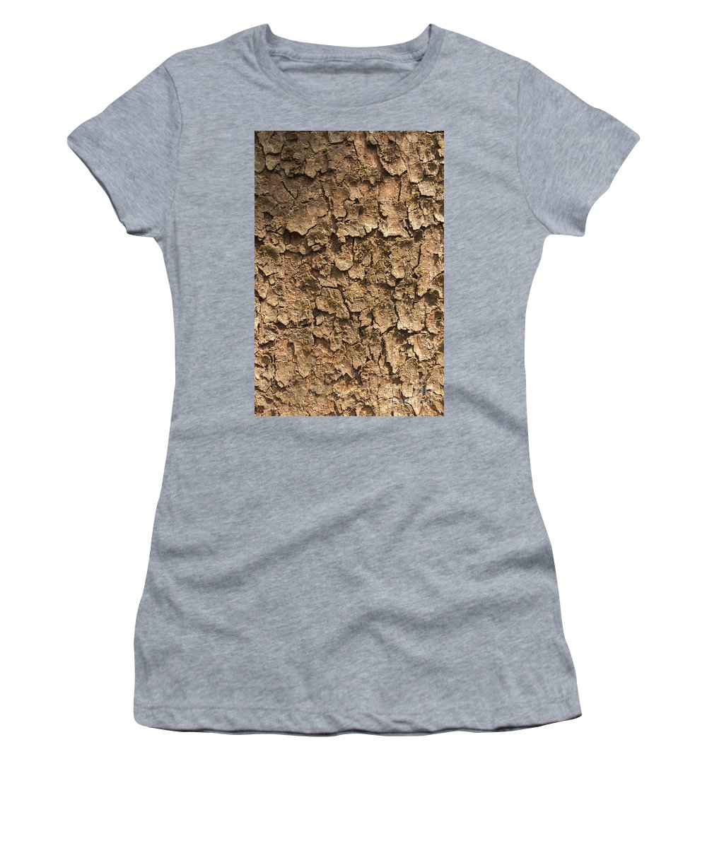Textured Women's T-Shirt (Athletic Fit) featuring the photograph Bark Of A Tree by Rudra Narayan Mitra