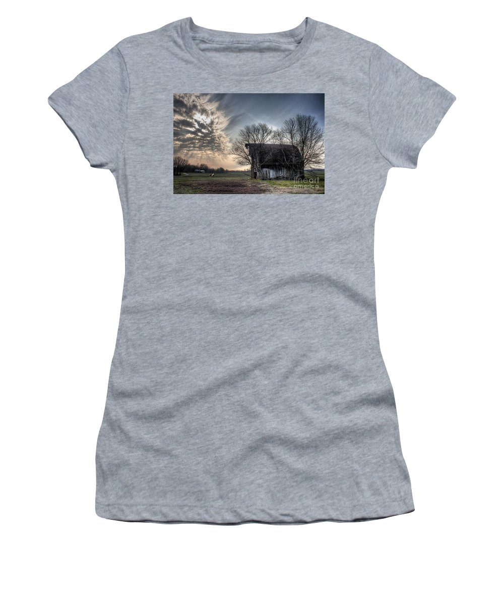 2008 Women's T-Shirt featuring the photograph Barn In A Field With A Horse by Larry Braun