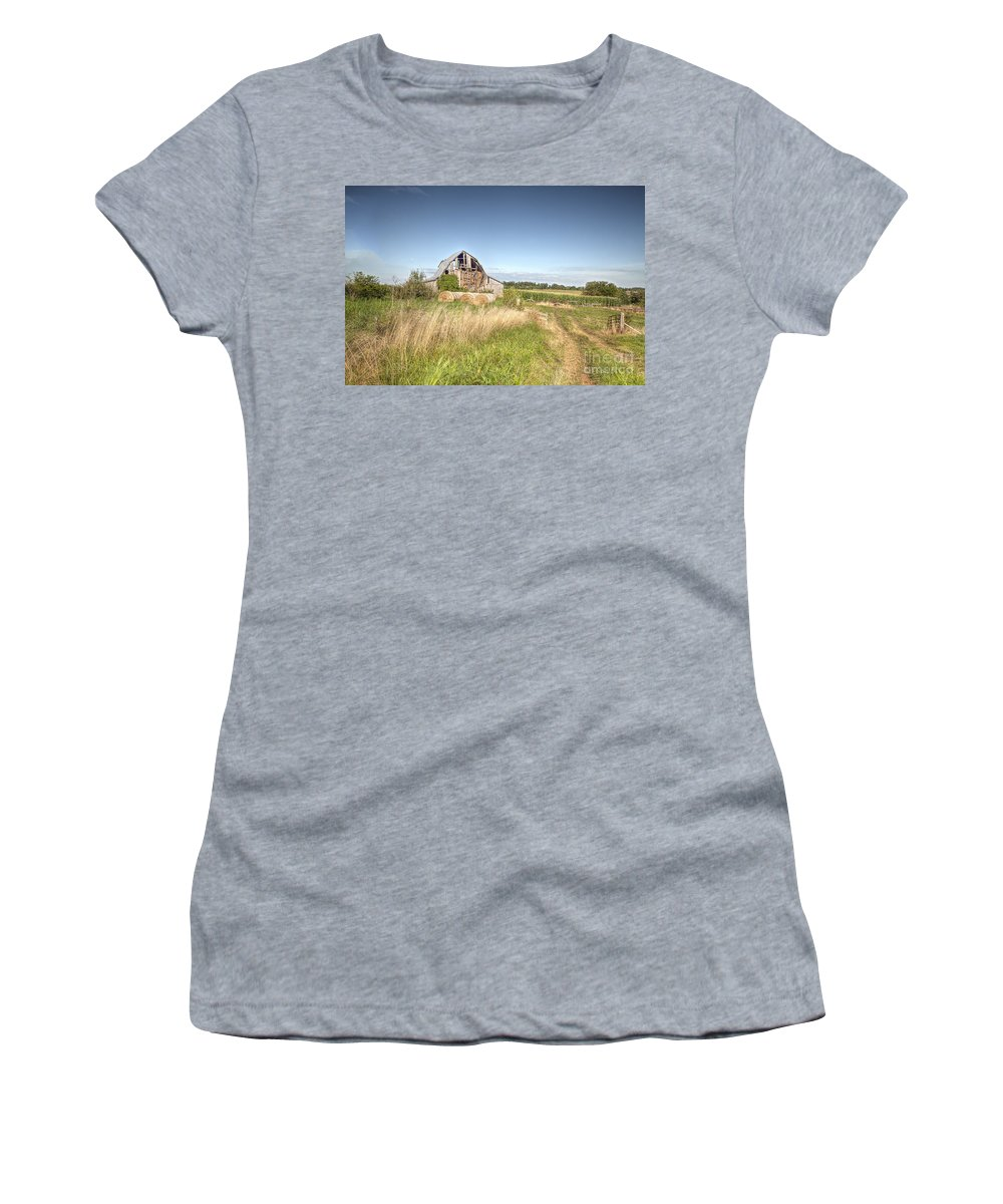 2013 Women's T-Shirt (Athletic Fit) featuring the photograph Barn In A Field With Hay Bales by Larry Braun