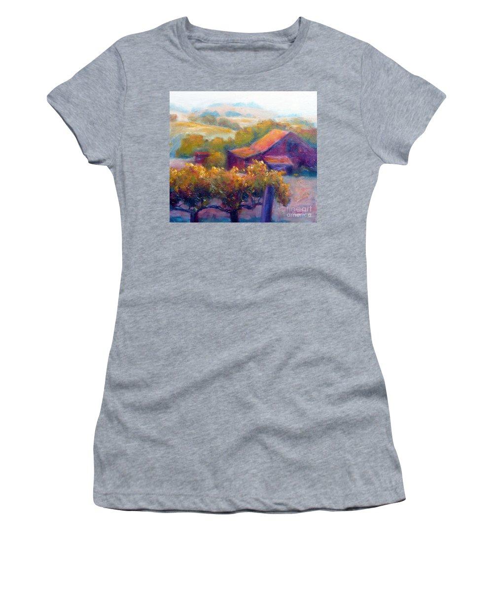 Barn Vineyard Women's T-Shirt featuring the painting Barn Vineyard by Carolyn Jarvis