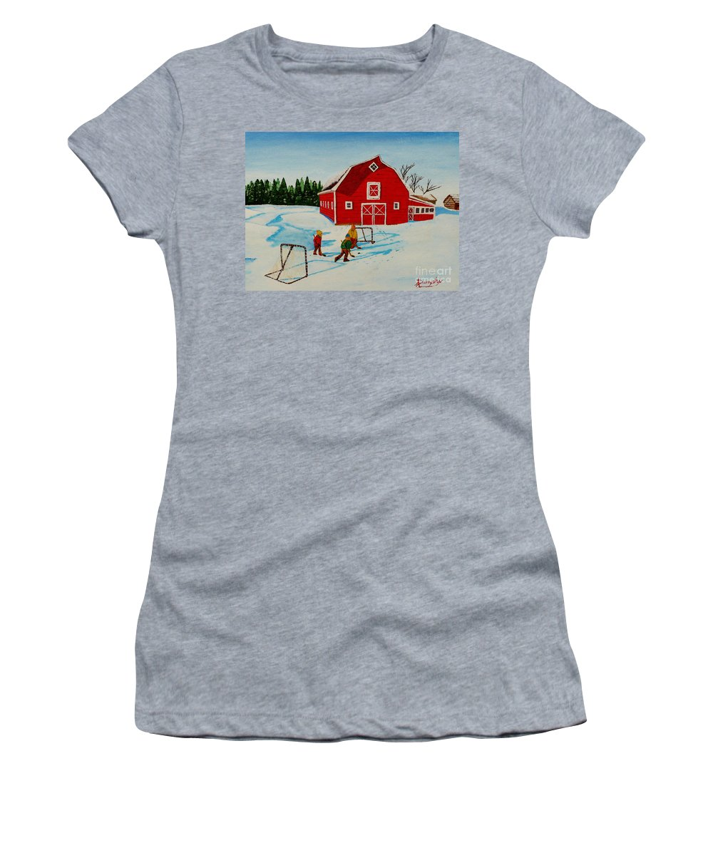 Hockey Women's T-Shirt (Athletic Fit) featuring the painting Barn Yard Hockey by Anthony Dunphy