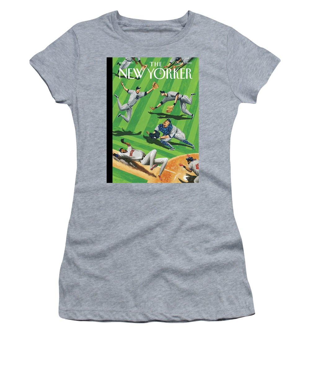 Yankees Women's T-Shirt featuring the painting Baseball Ballet by Mark Ulriksen