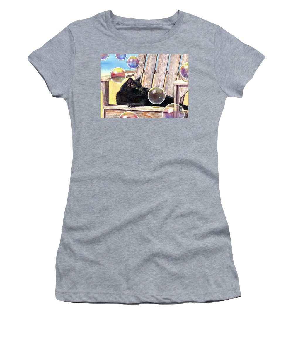 Cat Women's T-Shirt featuring the painting Basking in Bubbles by Catherine G McElroy