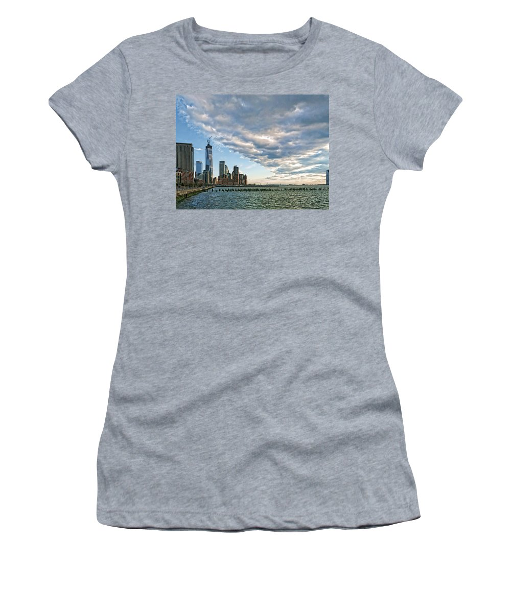 Women's T-Shirt (Athletic Fit) featuring the photograph Battery Park City 2013 by S Paul Sahm