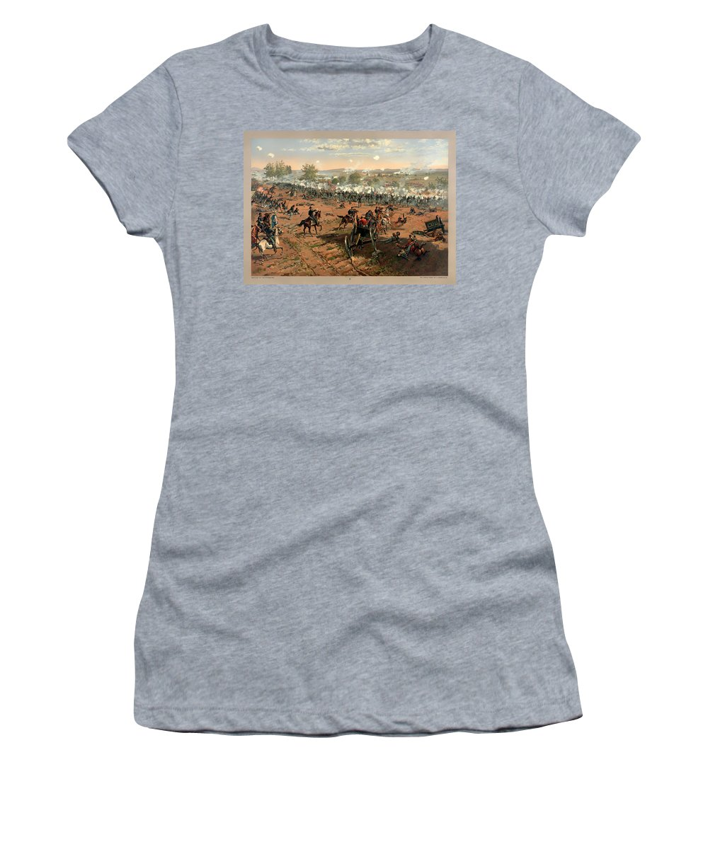 Gettysburg Women's T-Shirt featuring the painting Battle Of Gettysburg by Mountain Dreams