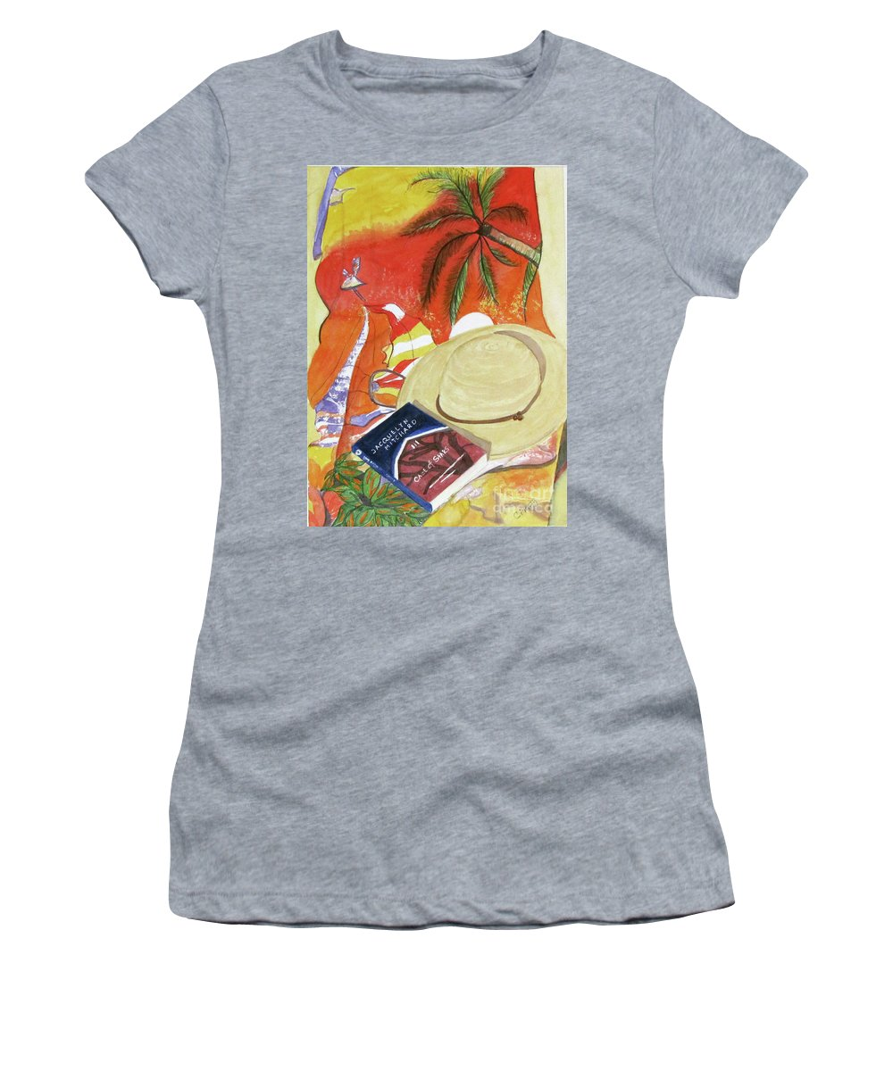 Beach Women's T-Shirt (Athletic Fit) featuring the painting Beach Day by Carol Flagg