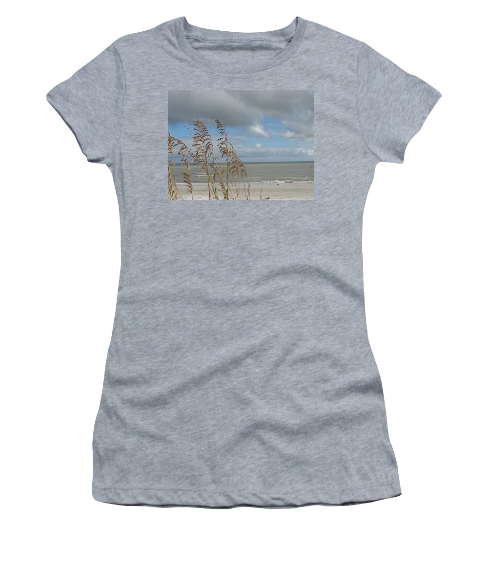 Beach Women's T-Shirt featuring the photograph Beachview With Seaoat by Christiane Schulze Art And Photography