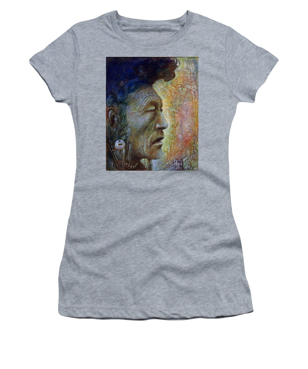 Bear Bull Women's T-Shirt (Athletic Fit) featuring the painting Bear Bull Shaman by Otto Rapp