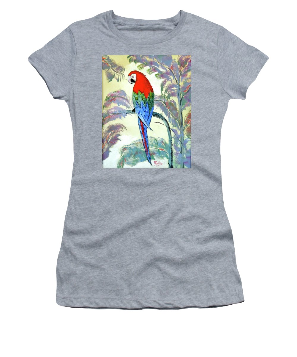 Red Women's T-Shirt featuring the painting Beautiful Parrot For Someone Special by Phyllis Kaltenbach
