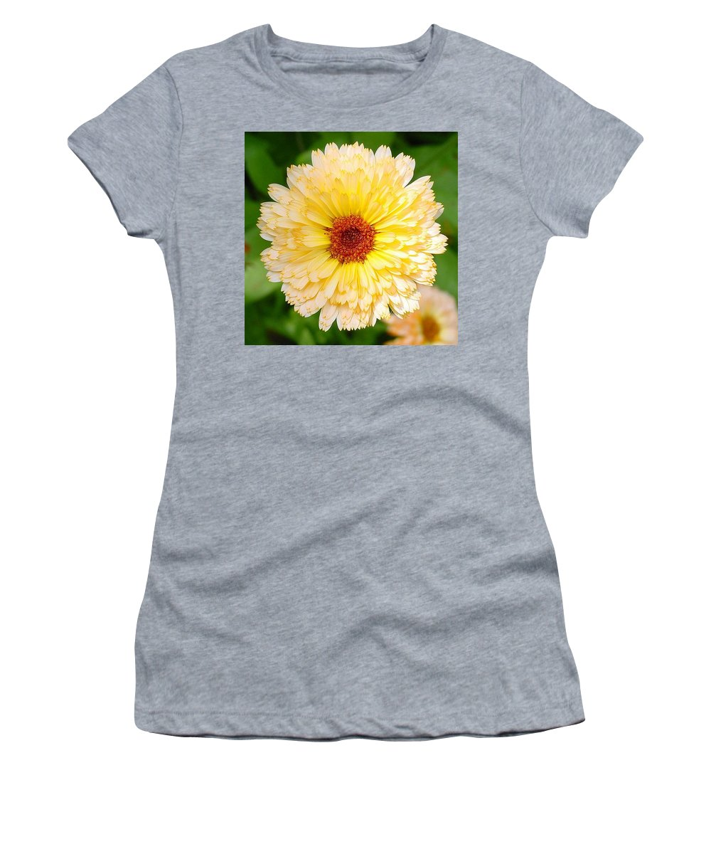 Flower Women's T-Shirt (Athletic Fit) featuring the photograph Beautiful Yellow Marigold Goldbloom Close Up by Taiche Acrylic Art
