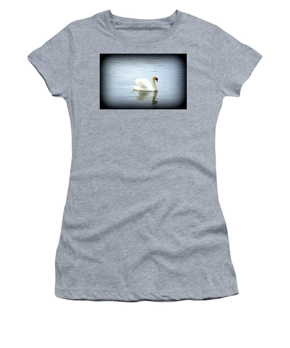 Swan Women's T-Shirt featuring the photograph Beauty And Elegance by Laurie Perry