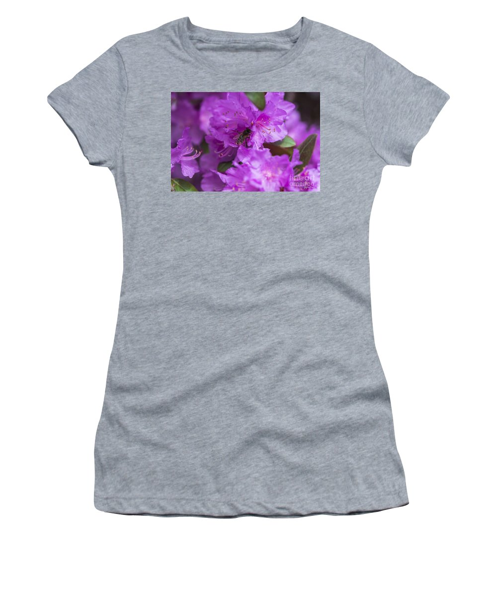 Bee On Rhododendrons Women's T-Shirt featuring the photograph Bee On Rhododendrons by Yefim Bam