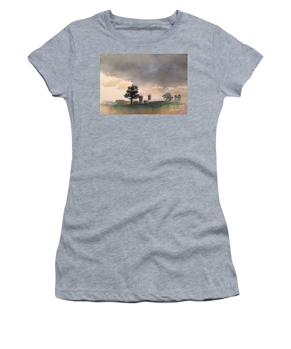 Landscape Women's T-Shirt featuring the painting Bemis Road -1  Saline Michigan by Yoshiko Mishina