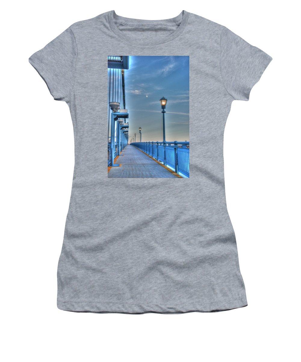 Ben Franklin Bridge Women's T-Shirt featuring the photograph Ben Franklin Bridge Walkway by Jennifer Ancker