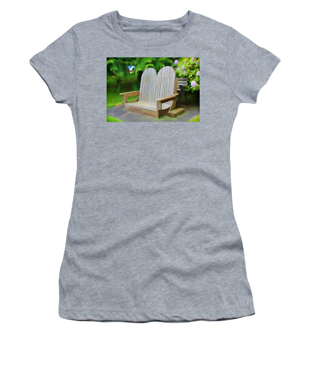 Garden Women's T-Shirt featuring the digital art Benches by Cathy Anderson
