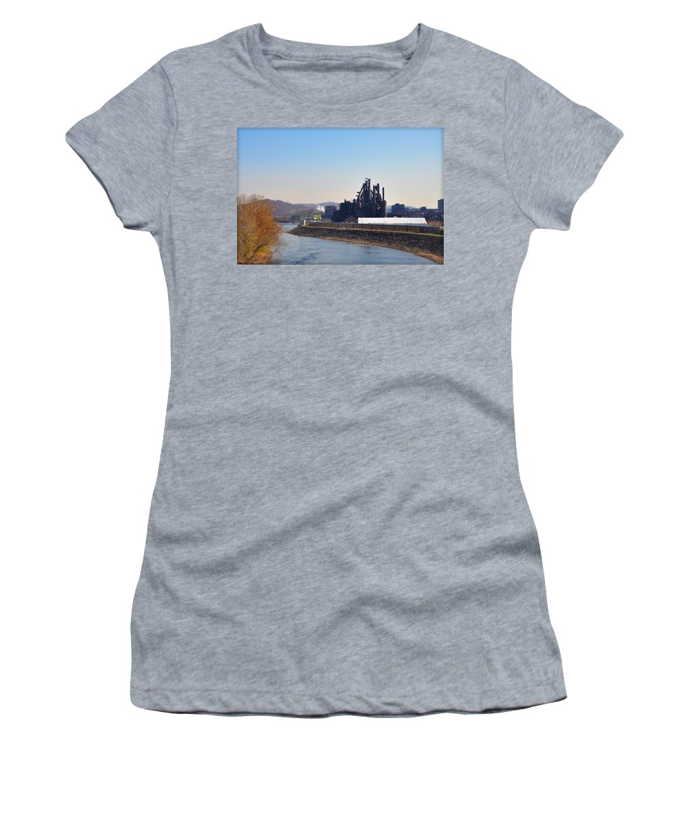 Bethlehem Women's T-Shirt featuring the photograph Bethlehem Steel And The Lehigh River by Bill Cannon