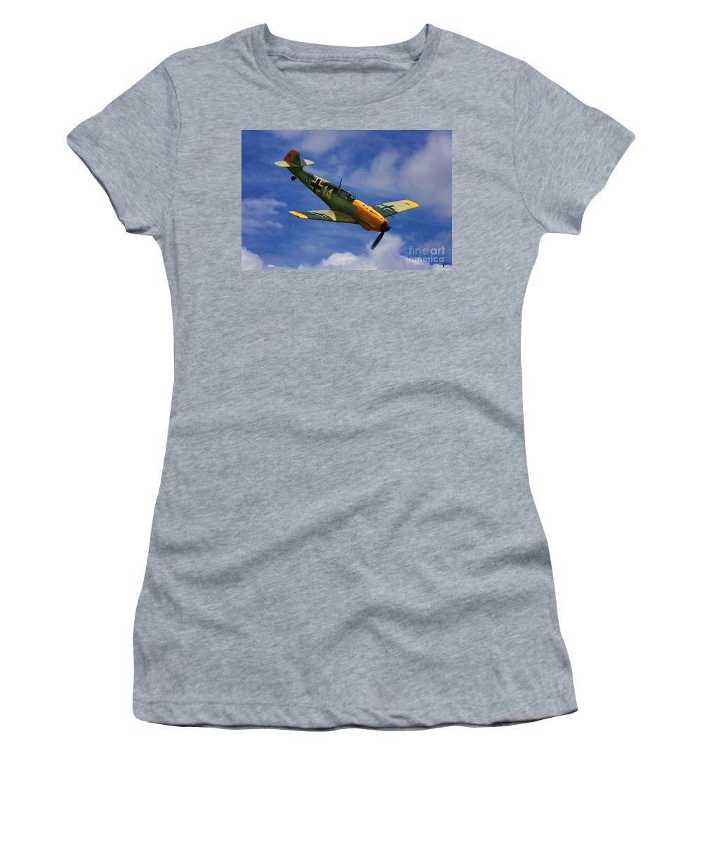 Messerschmitt Women's T-Shirt (Athletic Fit) featuring the digital art Bf 109 Messerschmitt by Tommy Anderson
