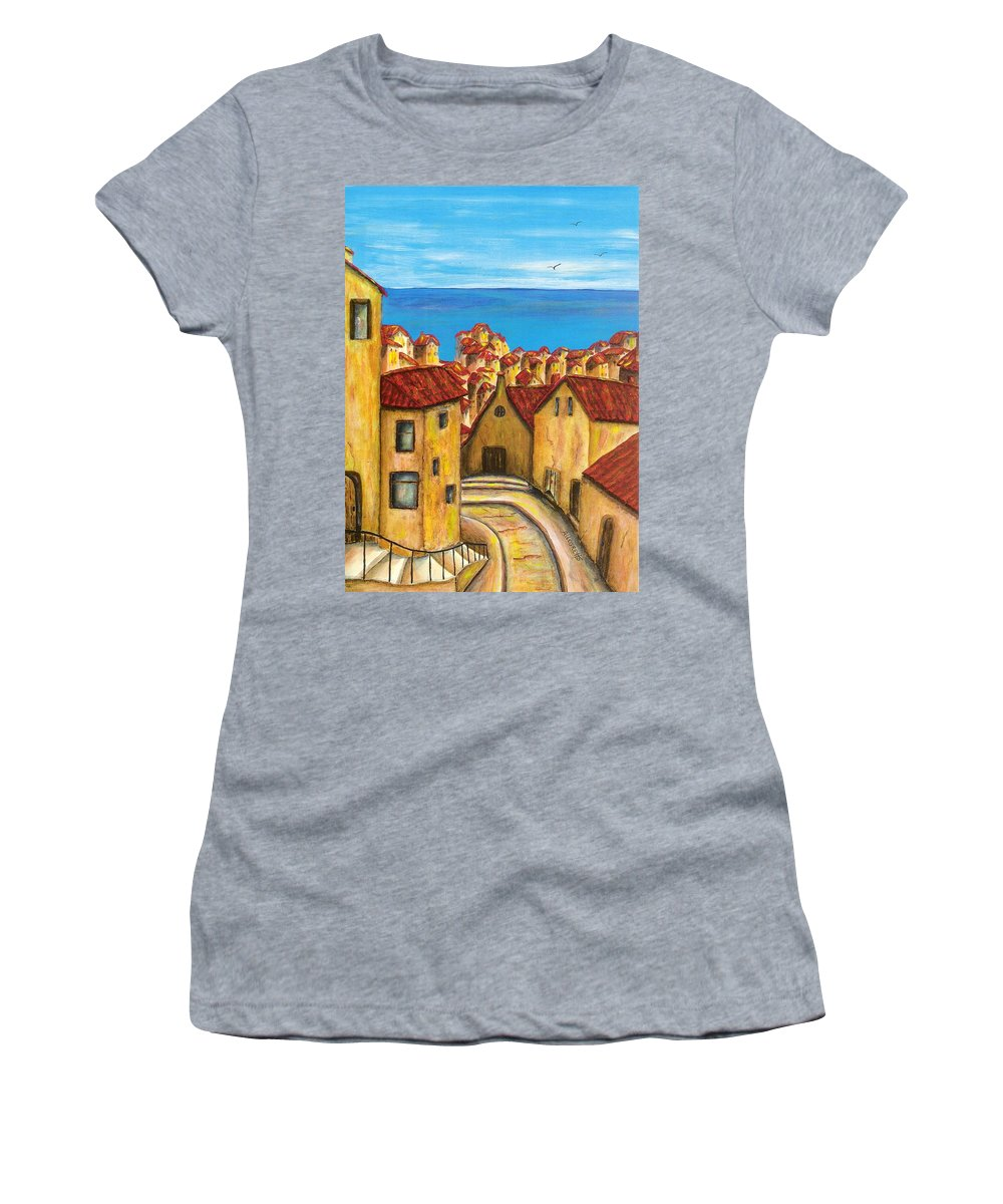 Pamela Allegretto Women's T-Shirt (Athletic Fit) featuring the painting Biagi In Tuscany by Pamela Allegretto