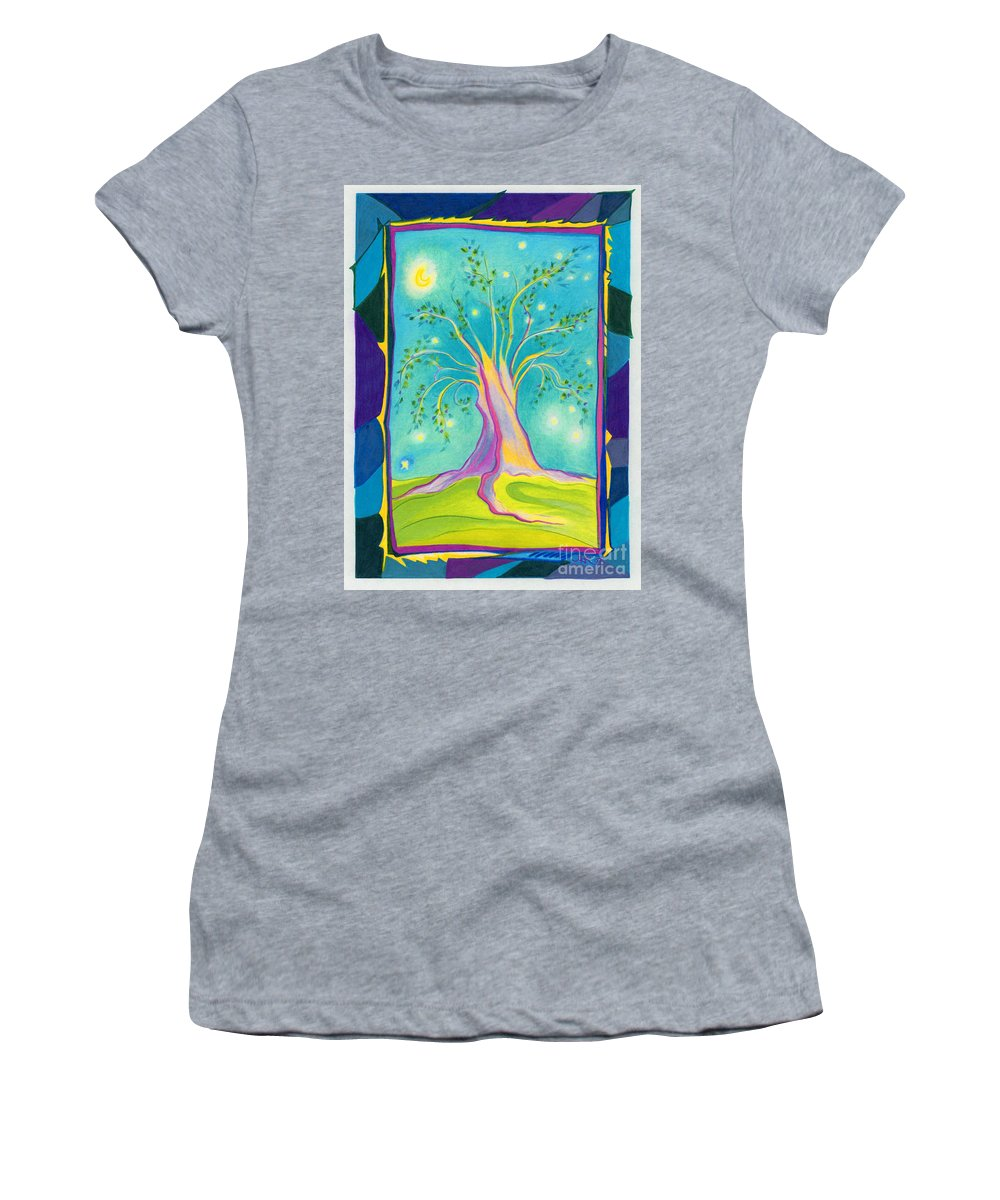 First Star Art Women's T-Shirt (Athletic Fit) featuring the drawing Bilabo Tree by First Star Art