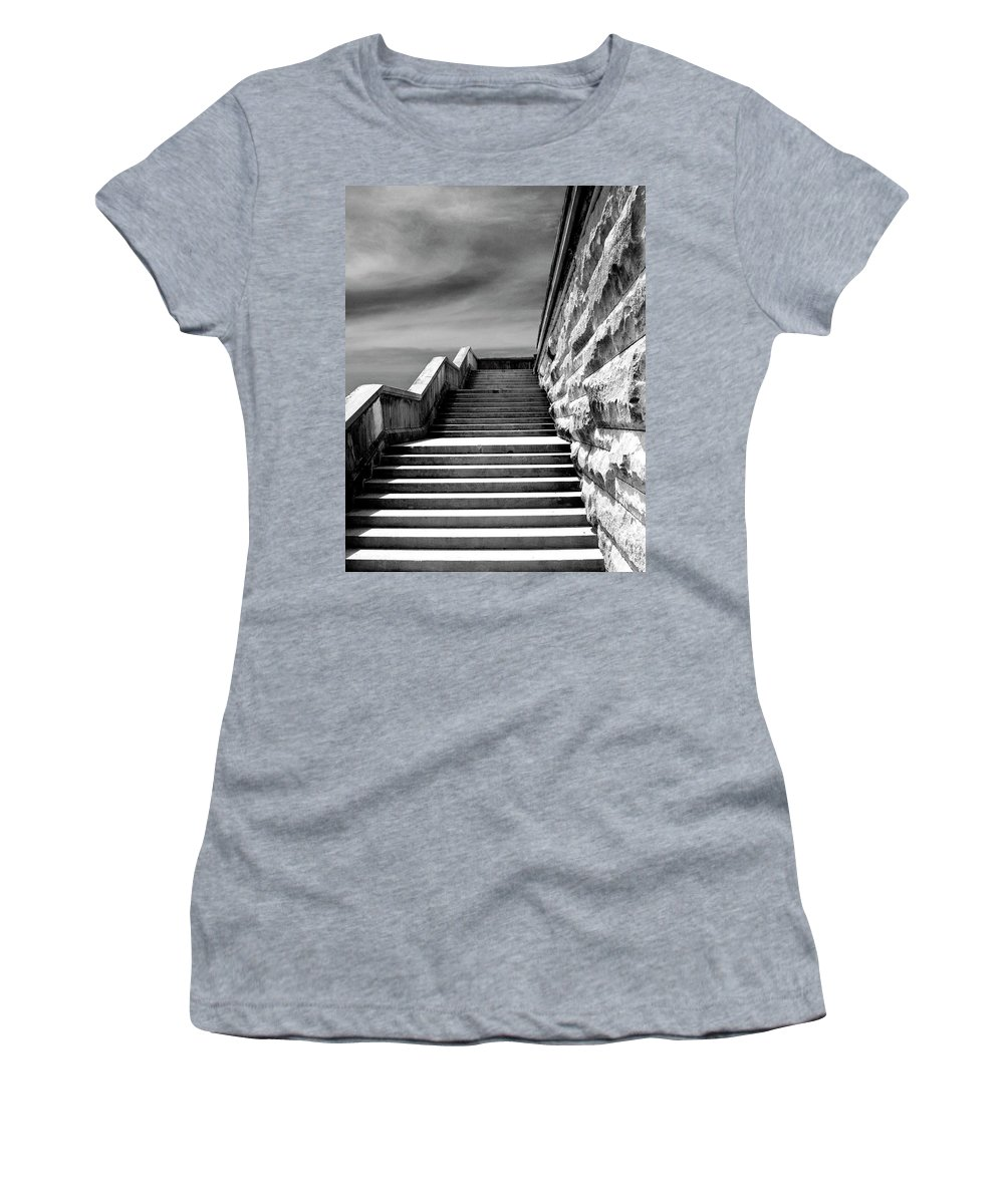 Asheville Women's T-Shirt (Athletic Fit) featuring the photograph Biltmore Stairs Asheville Nc by William Dey